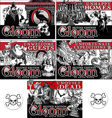 Gloom Card Game Bundle of Gloom, Unhappy Homes, Unwelcome Guests, Unfortunate Expeditions, and Unquiet Dead Second Edition Plus 2 Bonus Skull Buttons by Gloom