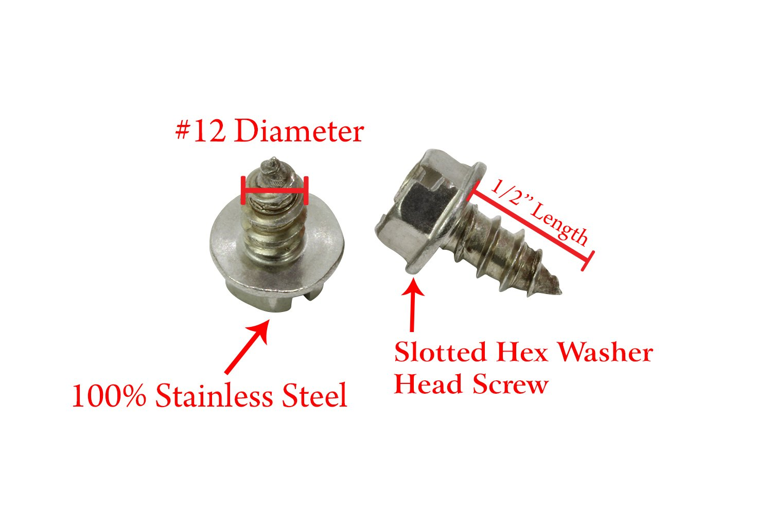 #12 X 1//2 Stainless Slotted Hex Washer Head Screw, 18-8 25 pc 304 Stainless Steel Screw by Bolt Dropper