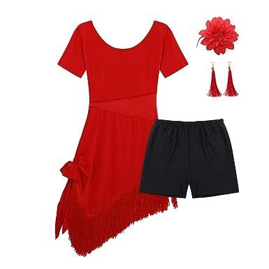 ranrann Vestido de Danza Latina para Niña Vestido de Flamenco ...
