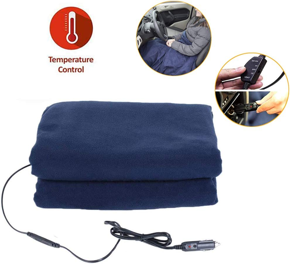 "QBABY Car Electric Heated Blanket, Soft Fleece 12V AC Heating Throw Blanket Travel Blankets for Car Truck RV Camper Boat(57""x39"")"