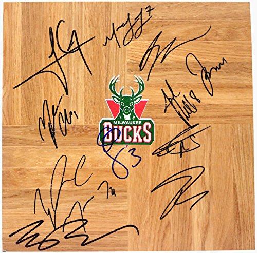 Milwaukee Bucks 2015-16 Team Signed Autographed Basketball Floorboard Giannis Antetokounmpo (Team Signed Floor)