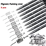 Black Pigment Liner Set - Assorted Fine Point and Brush Tip Nibs For Coloring,Art,Sketching,Calligraphy,Manga,Bullet Journal
