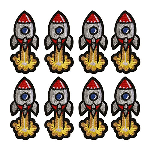 XUNHUI 8PCS Rocket Patch Iron on for Clothing Cute Cartoon Patch Fabric Sewing Embroidered Applique for Jacket Jeans Clothing ()