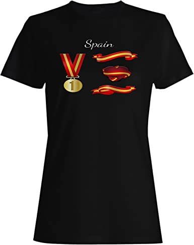 INNOGLEN España Medalla de Oro Premio Amor corazón Camiseta de Las Mujeres g477f: Amazon.es: Ropa y accesorios