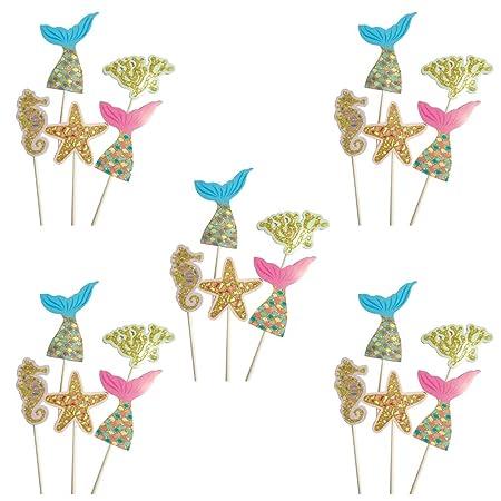 Whchiy - 25 adornos para cupcakes de estilo marino creativo ...