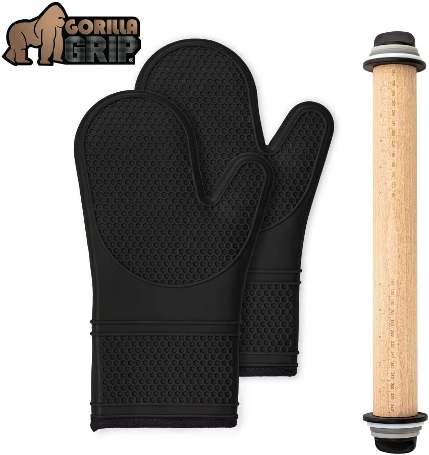 Gorilla Grip Silicone Oven Mitts Set and Rolling Pin, Includes Removable Thickness Measuring Rings, Black Oven Mitts are Heat Resistant, Roller is in Black/Gray/White/Light Gray Color, 2 Item Bundle