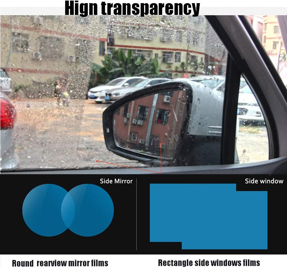Spareflying HD Rainproof Waterproof Membrane 2018 New Design Window Clear Anti-Scratch Film Car Rearview Mirror Film Protective 2 PCs for Rear View+2 PCs for Side Window