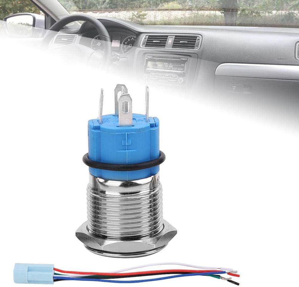 16mm 12V voiture /étanche LED avec verrouillage bleu bouton-poussoir autobloquant avec prise Aramox Bouton-poussoir