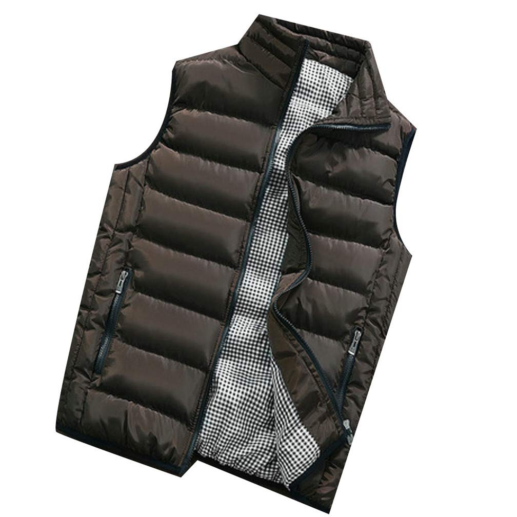 Lutratocro Men Zip Sleeveless Stand Collar Pocket Quilted Loose Jacket Down Vest