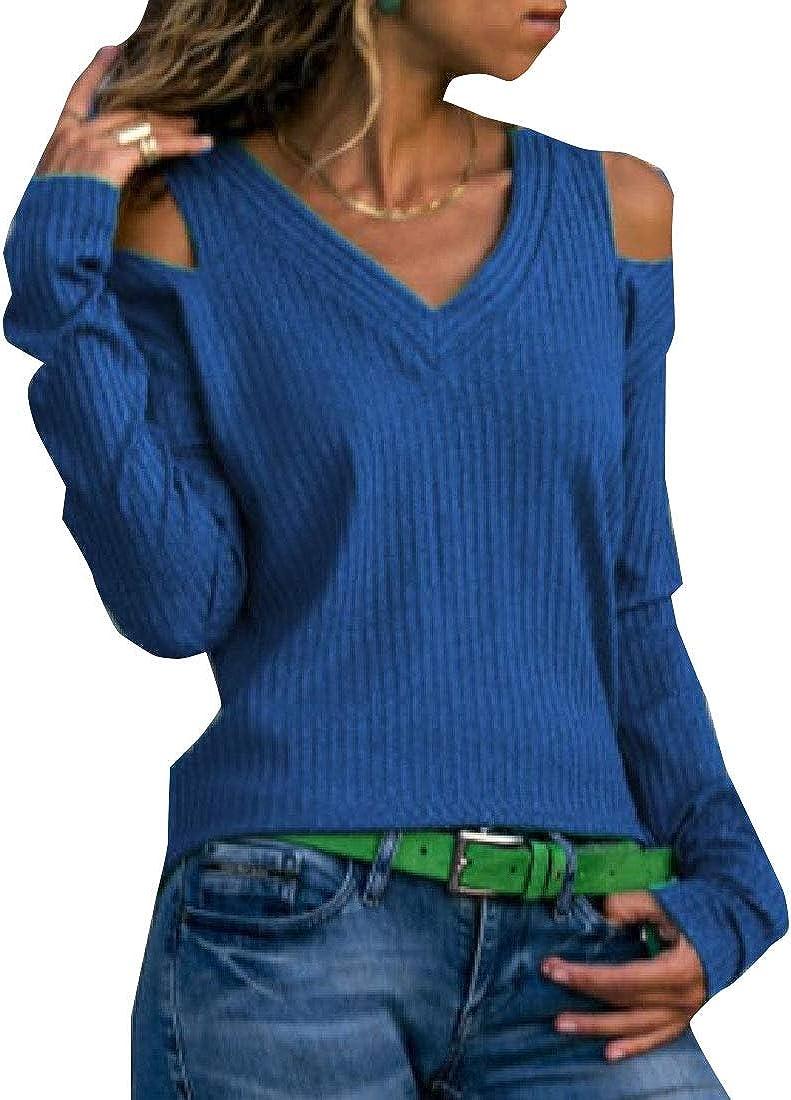 M/&S/&W Women Long Sleeve Knit Top V Neck Cold Shoulder Shirt