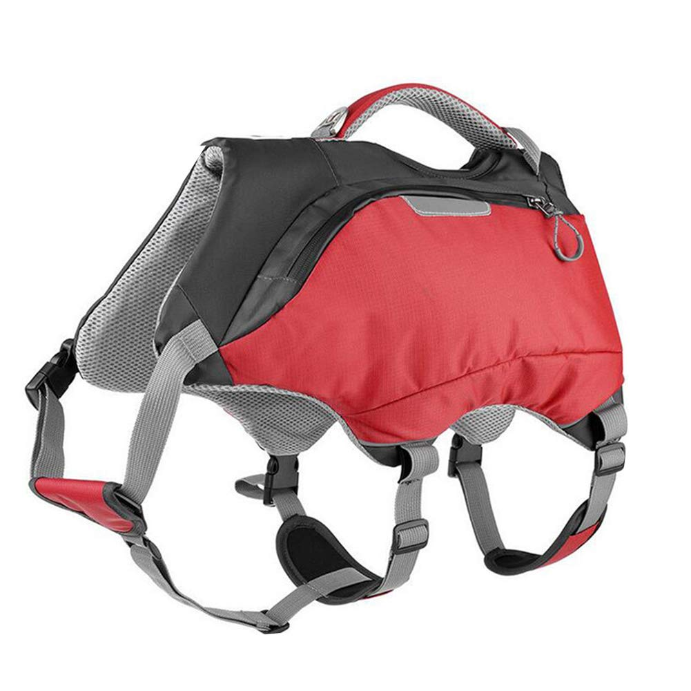 Red Small Red Small Dog Life Jacket and Backpack Vest Pet Harness Saddle Bag Hiking Gear for Camping Swiming Traveling for Medium Large Dogs(red)