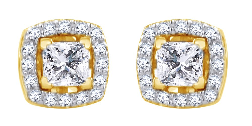 Asscher Cut White Natural Studs Earrings with Jackets in 14k Solid Yellow Gold (0.96 Cttw) by AFFY