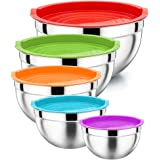 Mixing Bowl with Lid Set of 5, P&P CHEF Stainless Steel Nesting Salad Bowl Set for Prepping, Mixing and Serving, Size 5/4/3/2.5/1.5 QT, Measurement Lines & Flat Base