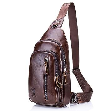 [2019Nuevo] Cuero Crossbody Bolsa,Para Hombres Deportiva de Hombro Mochila,Messenger Bag Para Hombres Bolso Mochila de Pecho cuero: Amazon.es: Equipaje