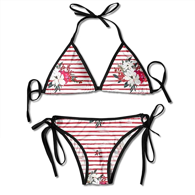 e2b2fb9c58702 Amazon.com: MOJP9 Women's Adjustable Bikini Tops, Red and White Christmas  Flowers Stripes Triangle Bikini Set String Swimsuit: Clothing