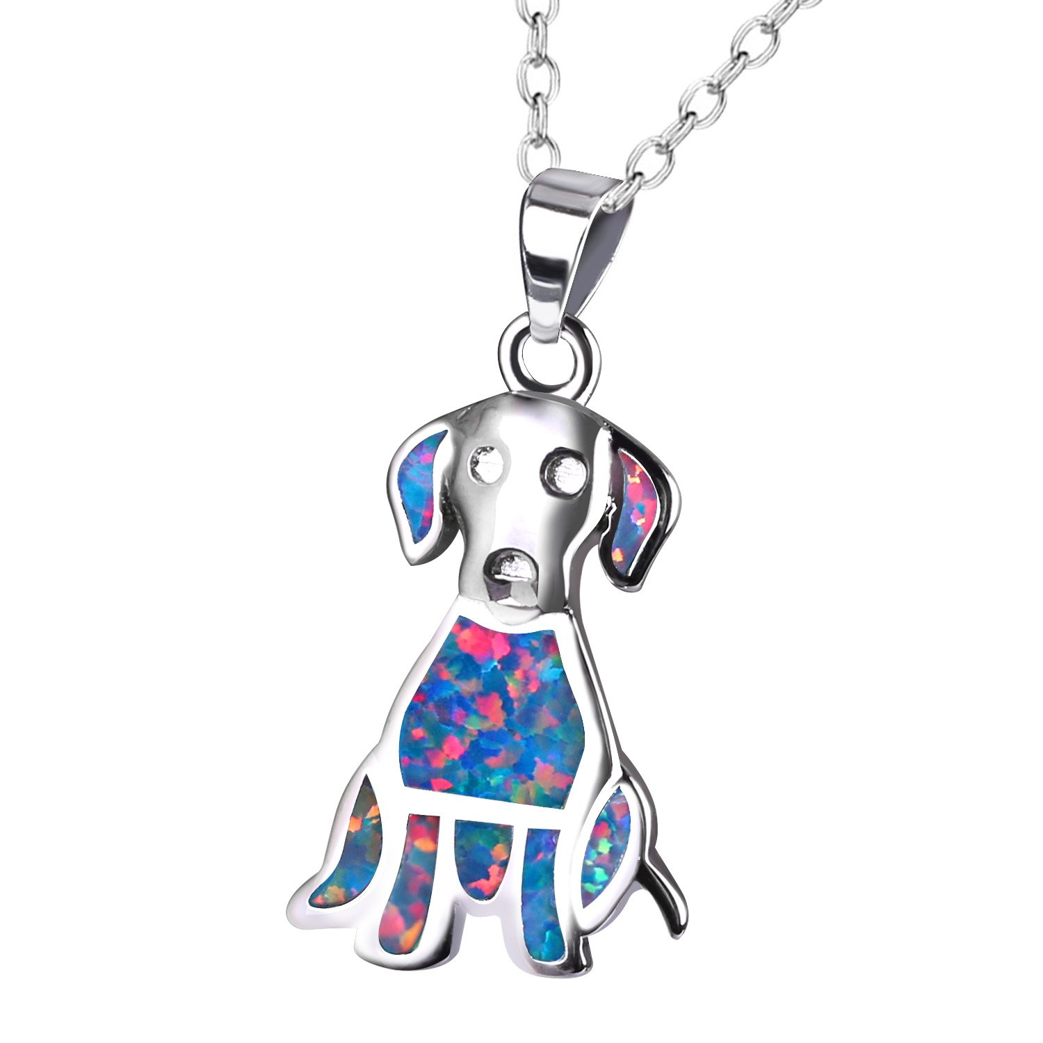 KELITCH Labrador Retriever Pendant Necklace Synthetic Opal Animal Choker Necklace Jewelry Gift (Red)