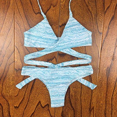 YONGYI Europa y los Estados Unidos de moda mujer playa de verano mujeres europeas y americanas dividir bikini luz azul bikini bikini traje de baño