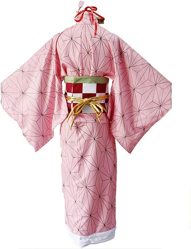 Amazon.com: Anime Demon Slayer Kimetsu No Yaiba Cosplay Costumes Nezuko Kamado Women Kimono Halloween Party: Clothing