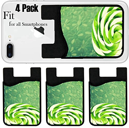 Liili Phone Card holder sleeve/wallet for iPhone Samsung Android and all smartphones with removable microfiber screen cleaner Silicone card Caddy(4 Pack) ID: 29042095 green and white large spiral lol by Liili