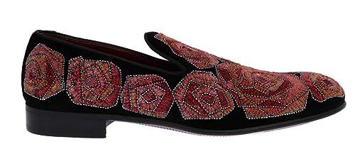 Dolce & Gabbana - Mocasines de Terciopelo para Hombre Negro Negro, Color Negro, Talla