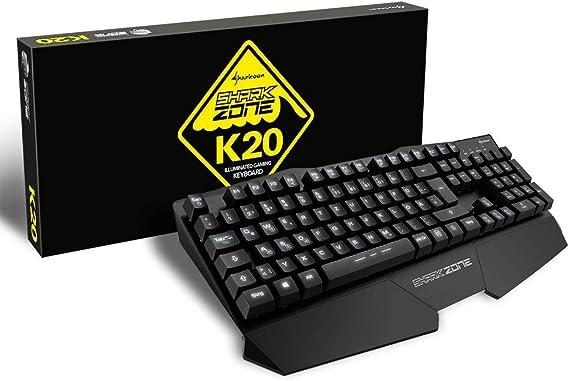 Sharkoon 4044951017232 Shark Zone K20 Gaming Keyboard schwarz AZERTY, franz/ösisches Tastaturlayout