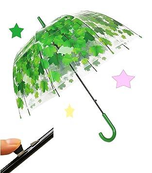 tdogs cortavientos mitad champiñón lluvia paraguas automático, soporte, Burbuja transparente Flor Forma de cúpula