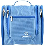 Hanging Toiletry Bag By Freegrace -Premium Large Travel Essentials Organizer -Durable Metal Hook - For Men & Women -Perfect For Accessories, Cosmetics, Personal Items, Shampoo, Body Wash (Sky Blue)