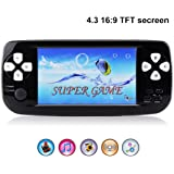 "Handheld Game Console,Rongyuxuan Portable Video Game 4.3""TFT Screen 4GB PAP Classic Handheld Game Console 64 Bit Portable Game Console,Birthday Gift for Children-Black"