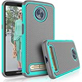 Moto Z3 Case, Motorola Moto Z3 Play Cute Case, Tekcoo [Tmajor] Shock Absorbing [Turquoise] Rubber Silicone & Plastic Scratch Resistant Bumper Sturdy Grip Sturdy Hard Cases Cover for Moto Z Play 2018