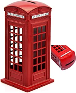 KAV Original British English Metal Alloy Money Coin Spare Change Piggy London Street Red Telephone Booth Bank Souvenir Model Box Jar, 14cm