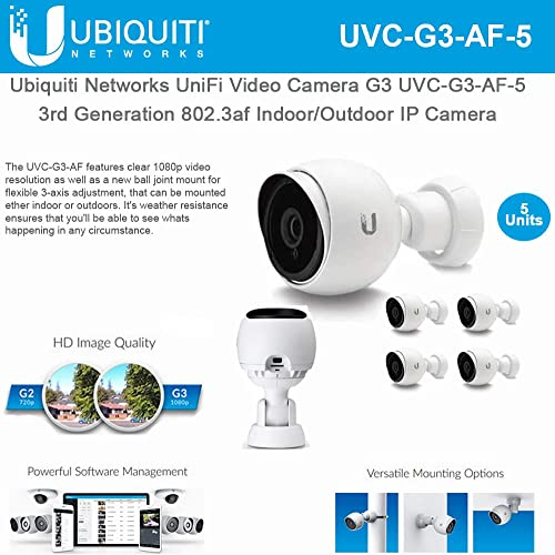 Ubiquiti Networks UniFi Video Camera G3 UVC-G3-AF-5 1080p UniFi 3rd Generation 802.3af Indoor Outdoor IP Camera