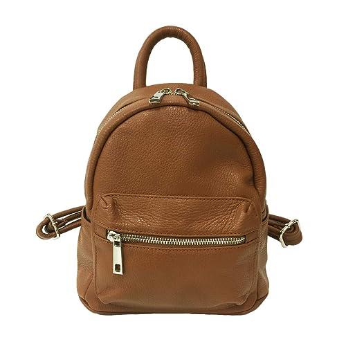 f72e23993e Rust Bags Zaino Piccolo Donna 100% Vera Pelle Zainetto Made in Italy (Cuoio)