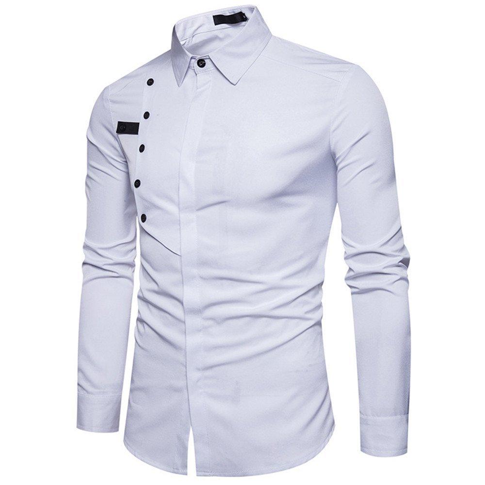 Shirts For Men, HOT SALE !! Farjing Men's Autumn Casual Formal Slim Long Sleeve Shirt Top Blouse(S,White)