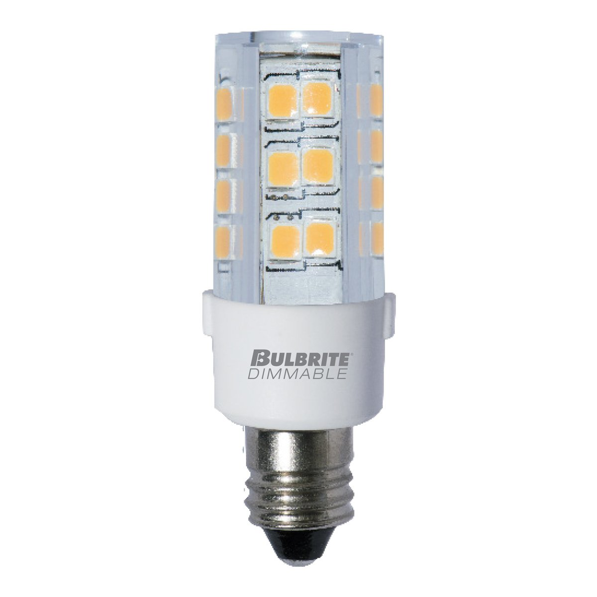 BULBRITE LED T4 MINI-CANDELABRA SCREW (E11) 4.5W DIMMABLE LIGHT BULB 3000K/SOFT WHITE 35 INCANDESCENT EQUIVALENT (Pack of 2)