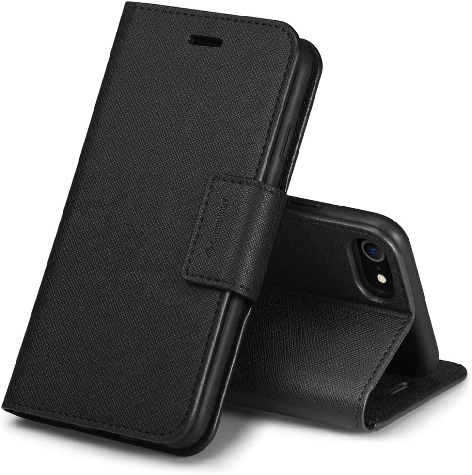 Caseology Calin for Apple iPhone SE 2020 Case for iPhone 8 Case (2017) for iPhone 7 Case (2016) - Saffiano Black