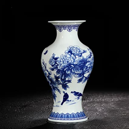 YAN Jarrones De Porcelana Azules Y Blancos Jingdezhen Jarrón De China De Hueso Fino Jarrón De