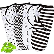 Black and White Swaddle Blankets, Adjustable Infant Baby Wrap set of 4, Baby Swaddling Wrap Blankets made in soft cotton, by BaeBae Goods