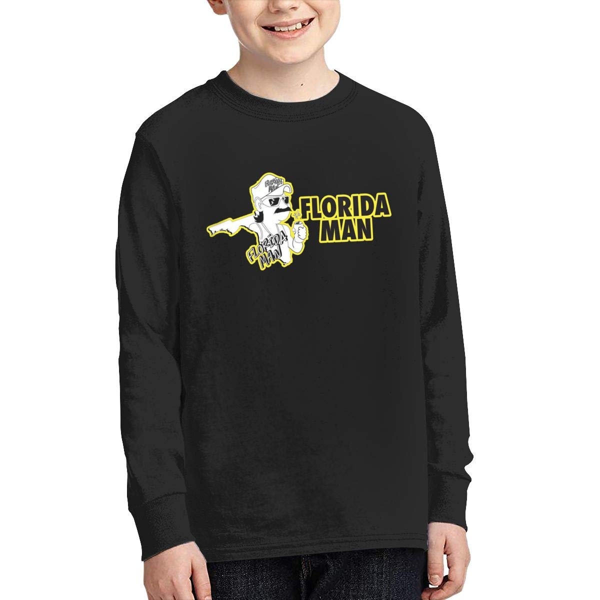 Florida Man Youth Long Sleeve Moisture Wicking Athletic T Shirts Casual Tee Graphic Tops for Teen Boys Girls