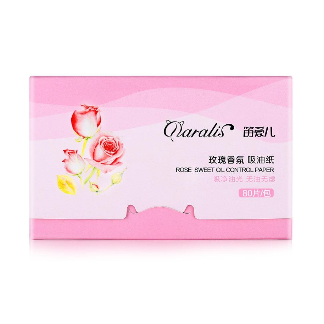 ANBOO 80PCS Sheets Make Up Oil Absorbing Blotting Facial Face Clean Paper Beauty (Pink)
