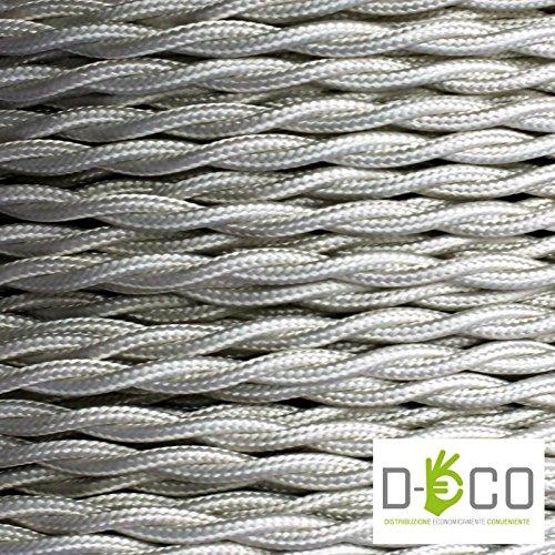 Cavo Elettrico Treccia/Trecciato Rivestito in Tessuto. Colore Avorio. Sezione 3x0.75 - 10 Metri Merlotti Cavi