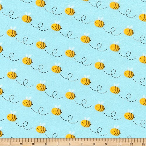 Aqua 42' Flannel (Kaufman Woodland Hideaway Flannel Bees Aqua Fabric By The Yard)