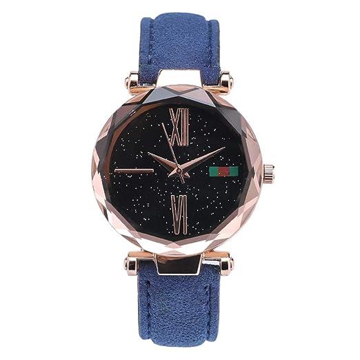 96551e92b Reloj de Moda Reloj Deportivo de Cuarzo para Mujer, Reloj de Dama de Cuarzo  analógico Starry Sky Sandstone (Color : Azul): Amazon.es: Relojes