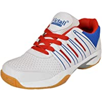 Victall Men's Performer Indoor Badminton White Shoes with Non Marking Sole P.U Material