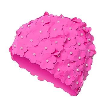 Alxcio Femmes 3d Fleurs Perle Bonnets De Bain Dame Petale