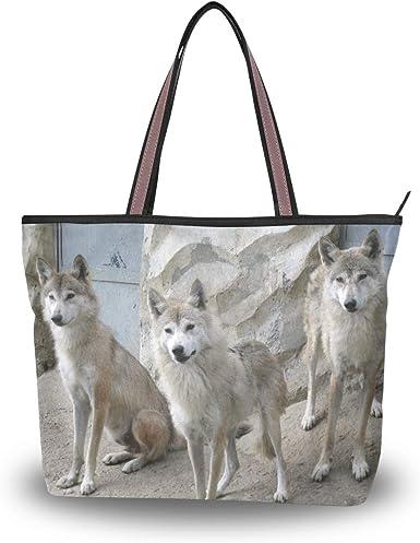 Motif loups dhiver Eslifey Sac fourre-tout pour femme