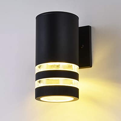 LED Outdoor Waterproof Wall Light fixtures, 9W 3000K Warm White Wall Sconce, ETL LED Driver, Aluminum Porch Light Painted Black: Home Improvement