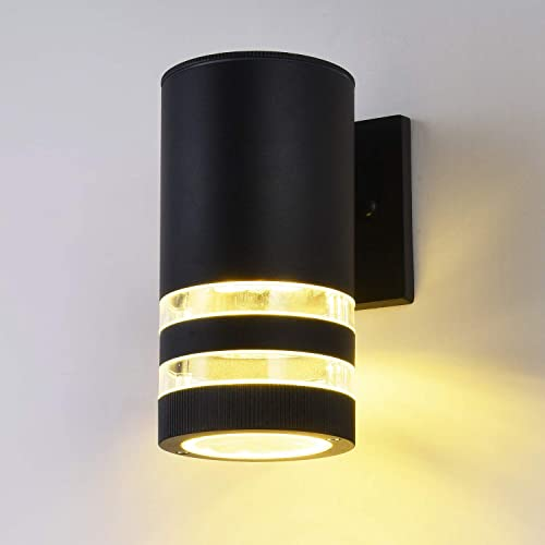 LED Outdoor Waterproof Wall Light fixtures, 9W 3000K Warm White Wall Sconce, ETL LED Driver, Aluminum Porch Light Painted Black