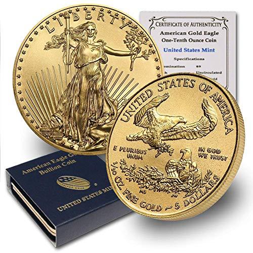 2020 1/10 oz Gold American Eagle (w/Box & COA) By CoinFolio $5 Brilliant Uncirculated