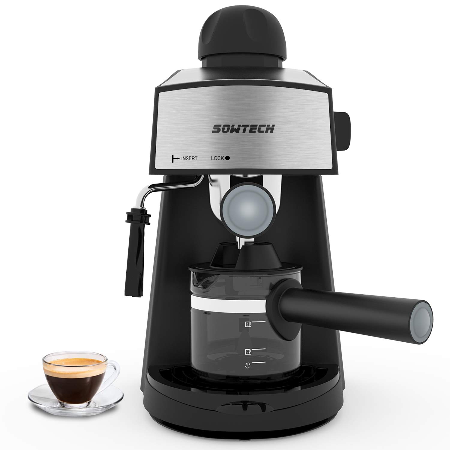 Espresso Machine 3.5 Bar 4 Cup Espresso Maker Cappuccino Machine with Steam Milk Frother and Carafe by SOWTECH