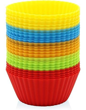 GOURMEO - 25 moldes para Muffins en 5 Colores de Silicona Reutilizable, Permanente, Bueno